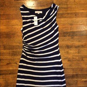 Ann Taylor LOFT Navy/White stripe Dress XS